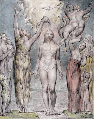Angels Drawing - The Baptism Of Christ by William Blake