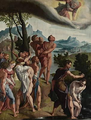 Baptism Drawing - The Baptism Of Christ, Workshop Of Jan Van Scorel by Litz Collection