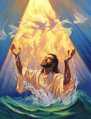 Doves Painting - The Baptism Of Jesus by Jeff Haynie