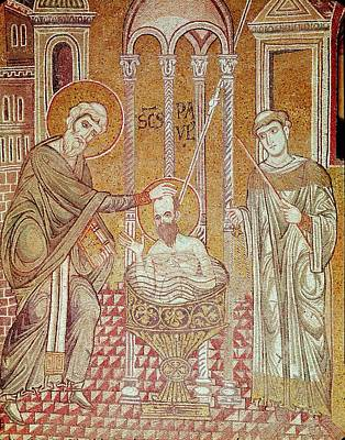 Baptising Photograph - The Baptism Of St. Paul By Ananias, From Scenes From The Life Of St. Paul Mosaic by Byzantine School