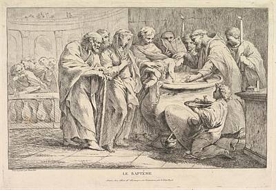 Tr Drawing - The Baptism by Pierre Charles Tr�moli�res