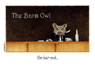Barred Owl Painting - The Bar Owl... by Will Bullas