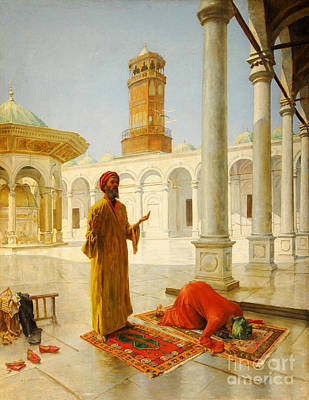 Engraving Painting - Muslim Prayer by Albert Joseph Franke