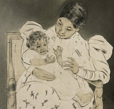 Mothers Day Drawing - The Barefooted Child by Mary Stevenson Cassatt