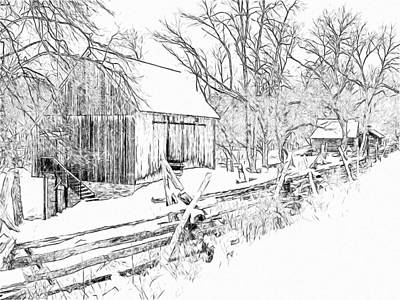 Digital Art -  Barn / Outbuildings - Oliver Miller Homestead In The Snow by Digital Photographic Arts