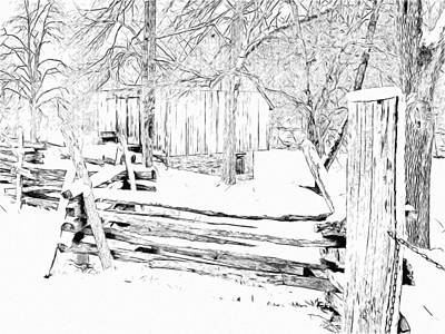 Digital Art - The Barn / Oliver Miller Homestead After A January Snow by Digital Photographic Arts