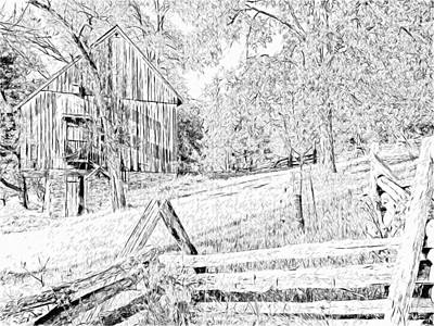 Digital Art - The Barn At The Oliver Miller Homestead - Side View by Digital Photographic Arts
