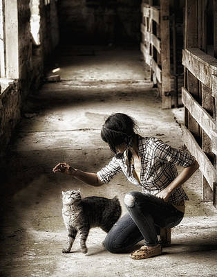 Ron Woods Photograph - The Barn Cat by Ron  McGinnis