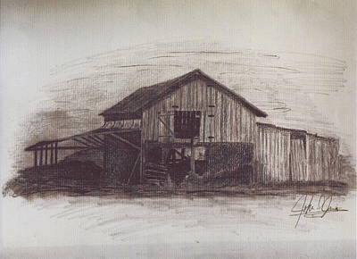 Old Barn Drawing - The Barn In Color by John Jones