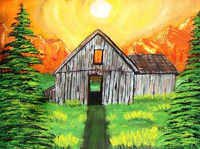 Old Barns Painting - The Barn In High Country by Ray Ratzlaff