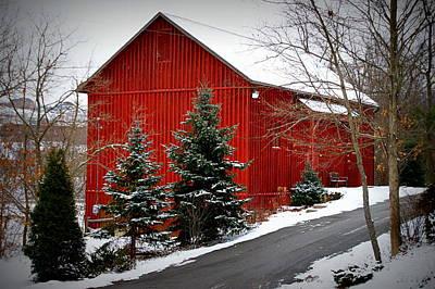 The Barn In Wintertime Art Print by Jeanne Geidel-Neal
