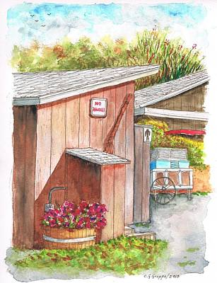 Blue Barn Doors Painting - The Barn Outhouse In Avila Beach - California by Carlos G Groppa