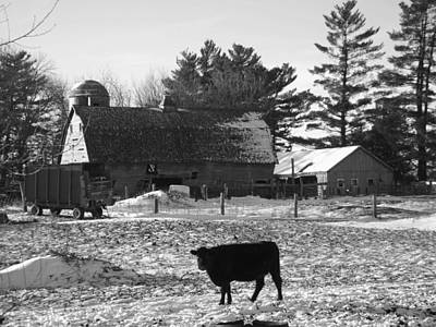 Photograph - The Barn Winter Bw by Bonfire Photography