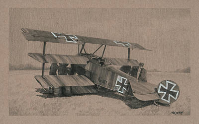 Aviators Drawing - The Baron's Tripe by Wade Meyers