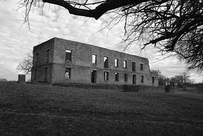 Photograph - The Barracks At Fort Washita Bw by Robyn Stacey