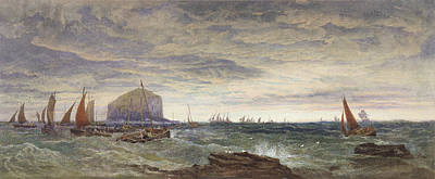 Speed Boat Painting - The Bass Rock At Dawn by Edward Duncan