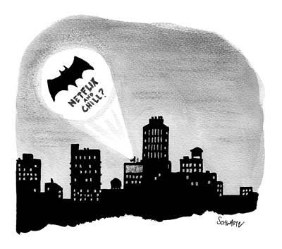 Bat Drawing - The Bat Signal Says Netflix And Chill? by Benjamin Schwartz