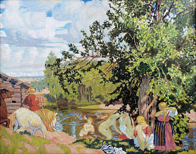 Painting - The Bath by Boris Kustodiev