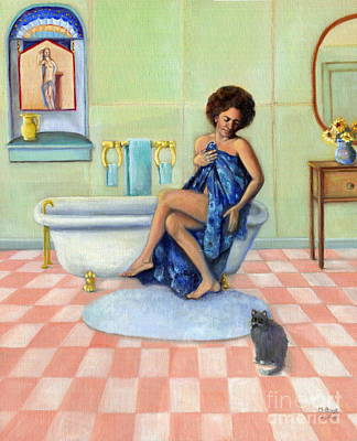 Checkerboard Floor Painting - The Bath by Marlene Book