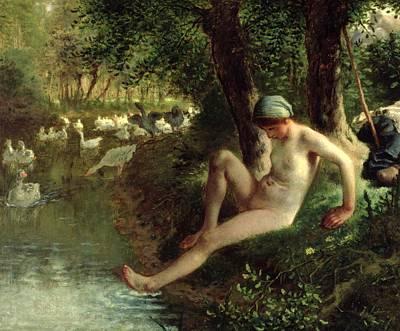 The Bather Art Print by Jean Francois Millet