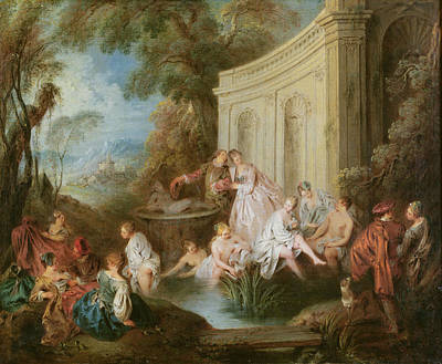 Nude Bathing Photograph - The Bathers Oil On Canvas by Jean-Baptiste Joseph Pater