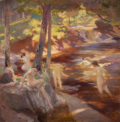 Skinny Dipping Painting - The Bathing Pool by Charles Hodge Mackie