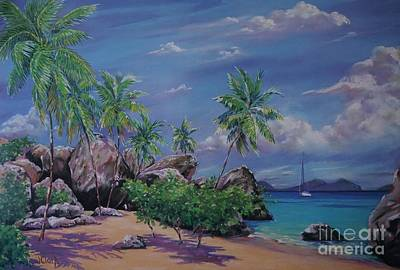 Van Dyke Painting - The Baths At Virgin Gorda   15x23 by John Clark