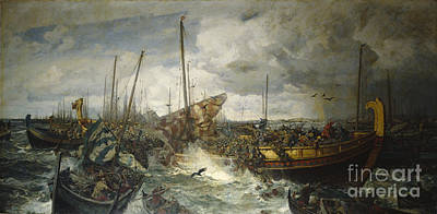 Viking Ship Painting - The Battle At Svolder by Otto Sinding