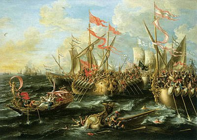 Viking Ship Painting - The Battle Of Actium 2 September 31 Bc by Lorenzo Castro