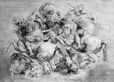 Drawing - The Battle Of Anghiari by Miguel Rodriguez