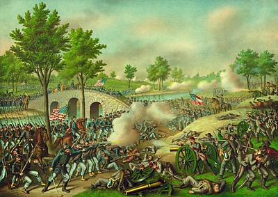 Union Bridge Painting - The Battle Of Antietam American Civil War by Movie Poster Prints