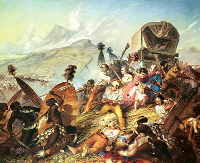 The Attack Photograph - The Battle Of Blauwkrantz, 1838 Oil On Canvas by Thomas Baines