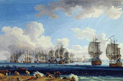 Turkish Painting - The Battle Of Chesma On The 5th July 1770 by Jacob-Philippe Hackert