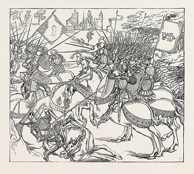Illuminated Drawing - The Battle Of Crey From An Illuminated Copy Of Froissarts by English School