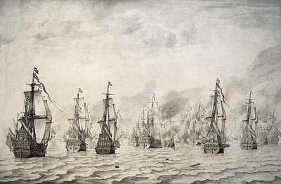 Water Vessels Photograph - The Battle Of Dunkirk, 1659, By Willem Van De Velde I1611-1693 by Bridgeman Images