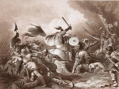 British Invasion Drawing - The Battle Of Hastings, Engraved by Philippe de Loutherbourg