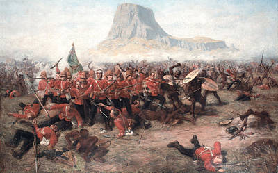 Shield Painting - The Battle Of Isandlwana The Last Stand by Charles Edwin Fripp