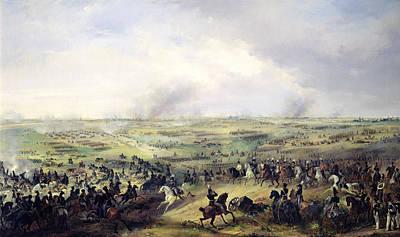 The Battle Of Leipzig, 16-19 October 1813 Oil On Canvas Art Print by Alexander Ivanovich Sauerweid