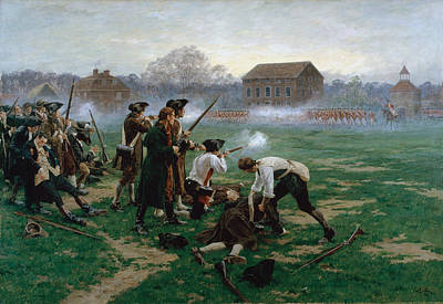 Shooting Wall Art - Painting - The Battle Of Lexington, 19th April 1775 by William Barnes Wollen