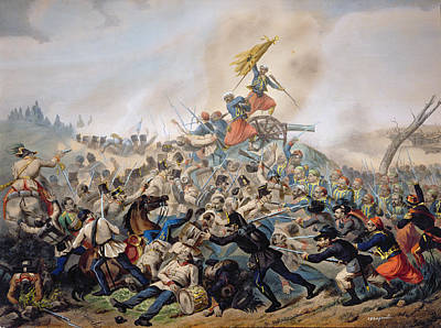 The Battle Of Magenta Coloured Engraving Art Print by Italian School