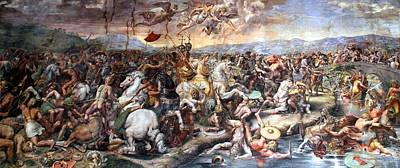 The Battle Of Milvian Bridge Art Print by Giulio Romano