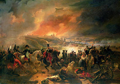 Napoleon Bonaparte Painting - The Battle Of Smolensk, 17th August 1812, 1839 Oil On Canvas by Jean Charles Langlois