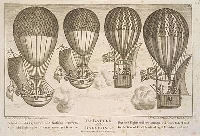 The Battle Of The Balloons Art Print by British Library