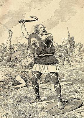 Clovis Photograph - The Battle Of Tolbiac In 496 Fought Between The Franks And The Alemanni.  From Agenda Buvard Du Bon by Bridgeman Images