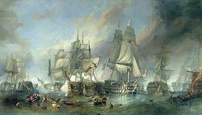 Wreck Painting - The Battle Of Trafalgar, 1805 by Clarkson RA Stanfield
