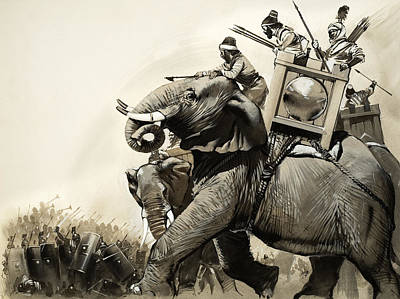 Elephant Drawing - The Battle Of Zama In 202 Bc by Angus McBride