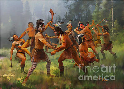 Indian Tribal Art Painting - the Battle by Rob Corsetti