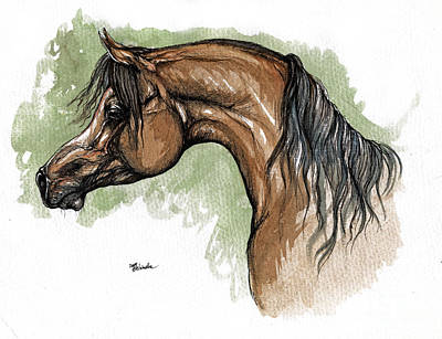 The Bay Arabian Horse 12 Original by Angel  Tarantella