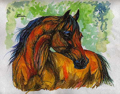 The Bay Arabian Horse 3 Original by Angel  Tarantella