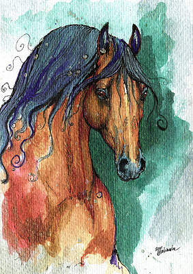 Horse Drawing Painting - The Bay Arabian Horse 7 by Angel  Tarantella